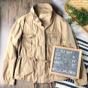 Old Navy khaki chino field jacket cinch waist XL
